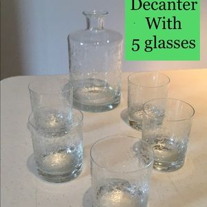 Crystal Decanter with 5 Glasses